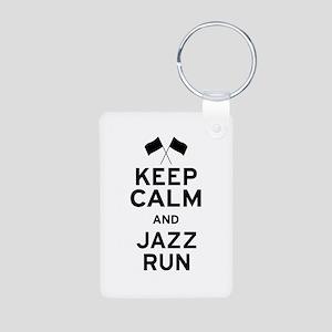 Keep Calm and Jazz Run Aluminum Photo Keychain