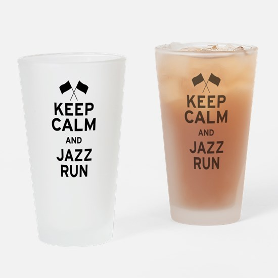 Keep Calm and Jazz Run Drinking Glass
