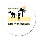 Cycling Hazards - Bad GPS Round Car Magnet