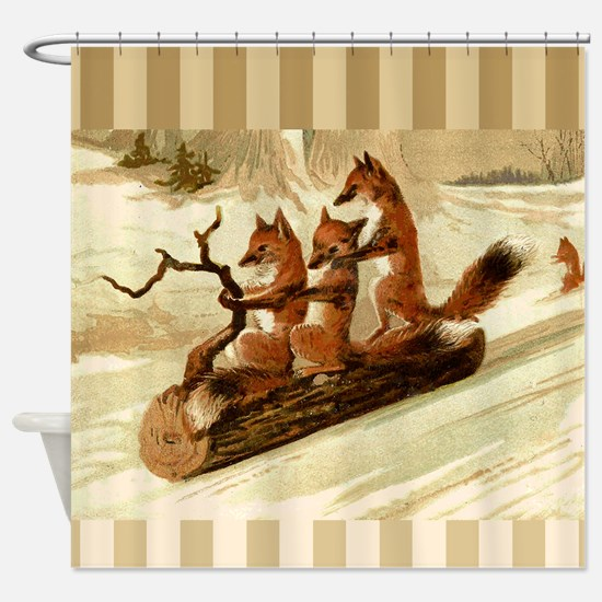 Winter Foxes Sledding Shower Curtain
