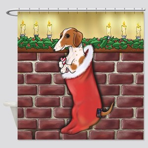 Piebald Christmas Shower Curtain