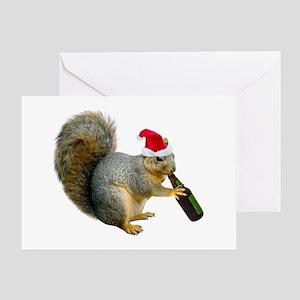 Santa Squirrel Beer Greeting Card