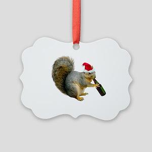 Santa Squirrel Beer Picture Ornament