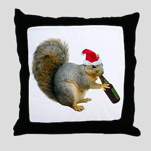 Santa Squirrel Beer Throw Pillow