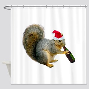 Santa Squirrel Beer Shower Curtain