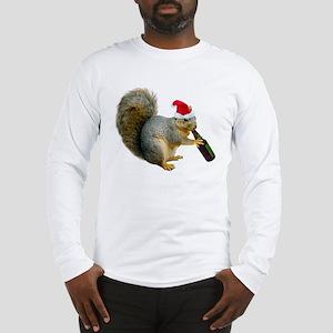 Santa Squirrel Beer Long Sleeve T-Shirt