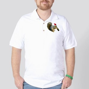 Santa Squirrel Beer Golf Shirt