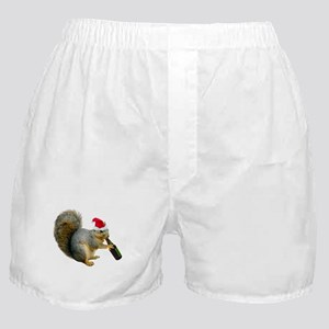 Santa Squirrel Beer Boxer Shorts