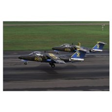 Saab 105 jet trainers of the Swedish Air Force dis Poster