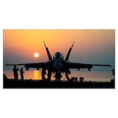 Sailors prepare an F/A-18C Hornet for flight opera Poster