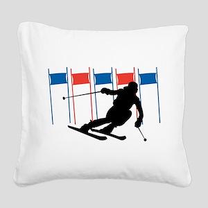 Ski Competition Square Canvas Pillow