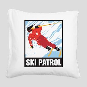 Ski Patrol Square Canvas Pillow