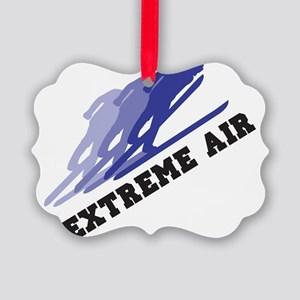 Extreme Air Skiing Picture Ornament