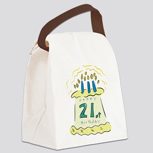 21st birthday cake Canvas Lunch Bag