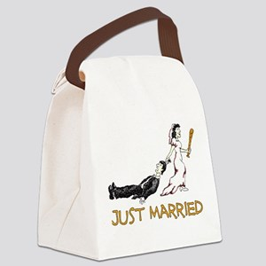 Just Married Beat Up white only Canvas Lunch B