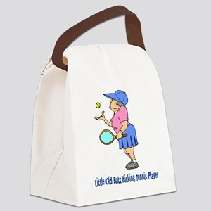 Butt Kicking Tennis Player Canvas Lunch Bag