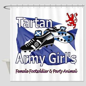 Tartan Army Girls Scotland Shower Curtain