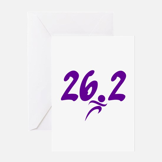 Purple 26.2 marathon Greeting Card