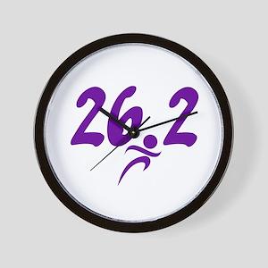 Purple 26.2 marathon Wall Clock