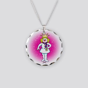 Pageant Snow Queen Necklace Circle Charm
