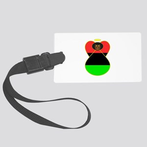 African American Angel Flag Large Luggage Tag