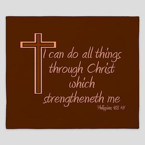 Philippians 4 13 Brown Cross King Duvet