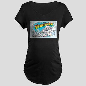 Virginia Map Greetings Maternity Dark T-Shirt