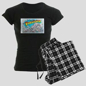 Virginia Map Greetings Women's Dark Pajamas