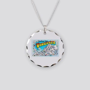 Virginia Map Greetings Necklace Circle Charm