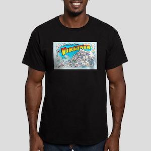 Virginia Map Greetings Men's Fitted T-Shirt (dark)