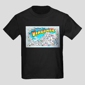 Virginia Map Greetings Kids Dark T-Shirt
