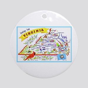 Virginia Map Greetings Ornament (Round)