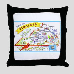 Virginia Map Greetings Throw Pillow