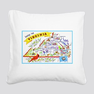 Virginia Map Greetings Square Canvas Pillow