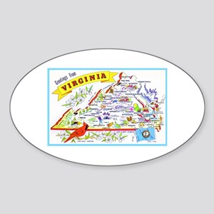 Virginia Map Greetings Sticker (Oval)