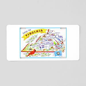 Virginia Map Greetings Aluminum License Plate