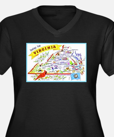 Virginia Map Greetings Women's Plus Size V-Neck Da