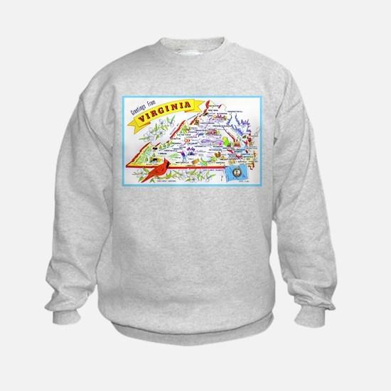 Virginia Map Greetings Sweatshirt