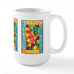 Autumn Quilt Watercolor Large Mug