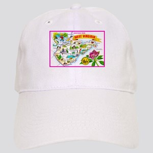 West Virginia Map Greetings Cap