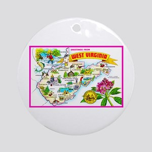 West Virginia Map Greetings Ornament (Round)