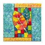 Autumn Quilt Watercolor Tile Coaster