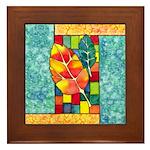 Autumn Quilt Watercolor Framed Tile