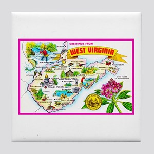 West Virginia Map Greetings Tile Coaster