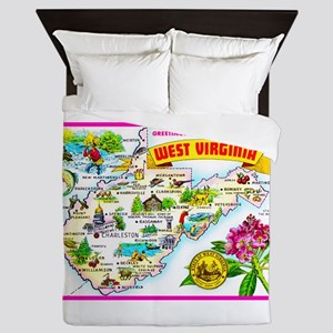 West Virginia Map Greetings Queen Duvet