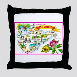 West Virginia Map Greetings Throw Pillow