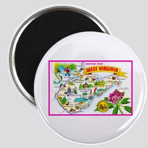 West Virginia Map Greetings Magnet