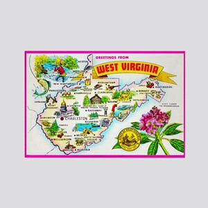 West Virginia Map Greetings Rectangle Magnet