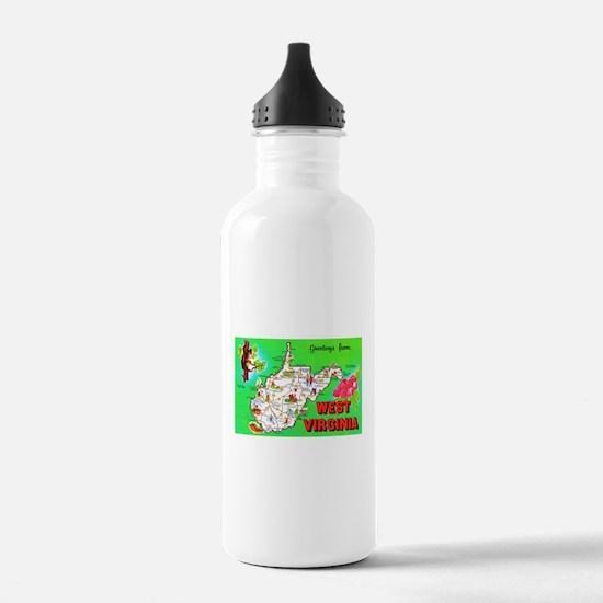 West Virginia Map Greetings Water Bottle