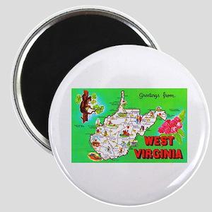 West Virginia Map Greetings Magnet